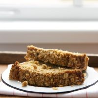 slices of Rhubarb Crumb Bread on a white plate