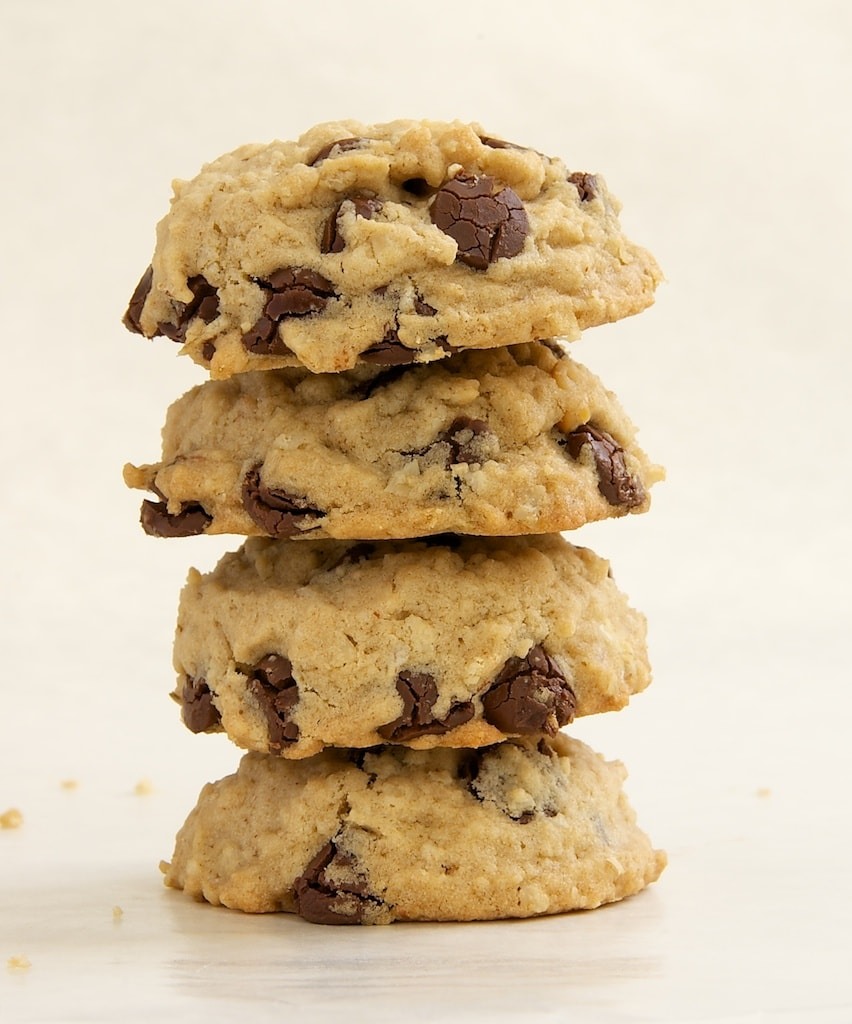 stack of Oatmeal Peanut Butter Chocolate Chip Cookies on a white surface