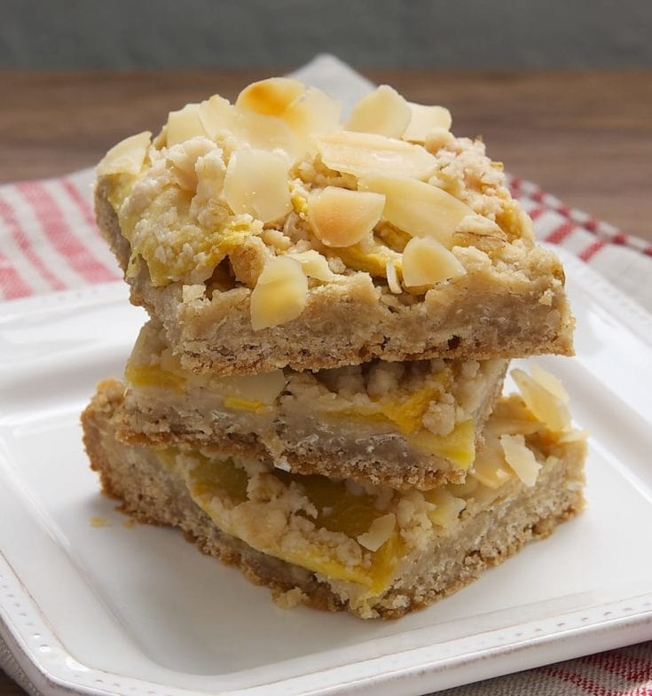 stack of Peach Crumble Bars