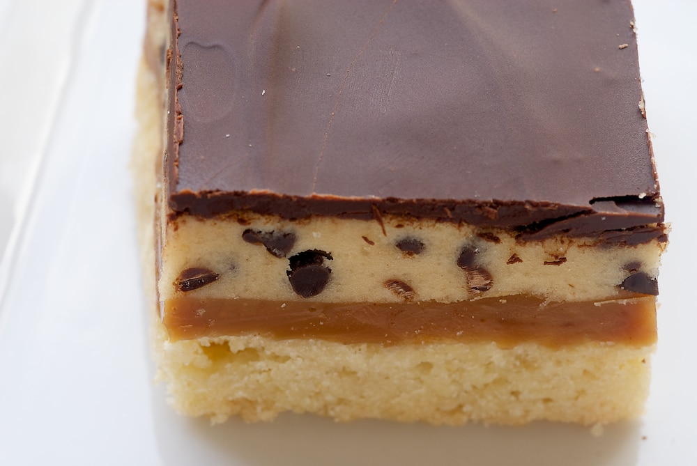 Cookie Dough Billionaire Bars   Bake or Break