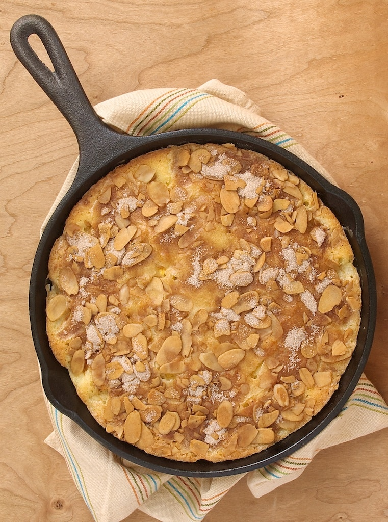 Peach and Nectarine Buckle made in a cast iron skillet