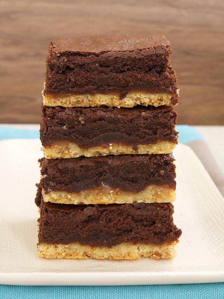 Caramel Popcorn Shortbread Brownies combine caramel, chocolate, and caramel popcorn for an irresistible sweet, crunchy treat!