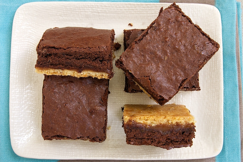 Caramel Popcorn Shortbread Brownies feature rich brownies, caramel, and a crust flavored with caramel popcorn. - Bake or Break