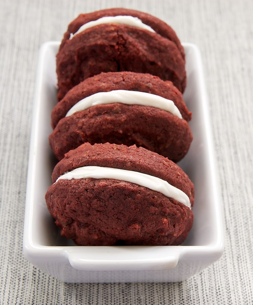 Red Velvet Chocolate Chunk Sandwich Cookies | Bake or Break