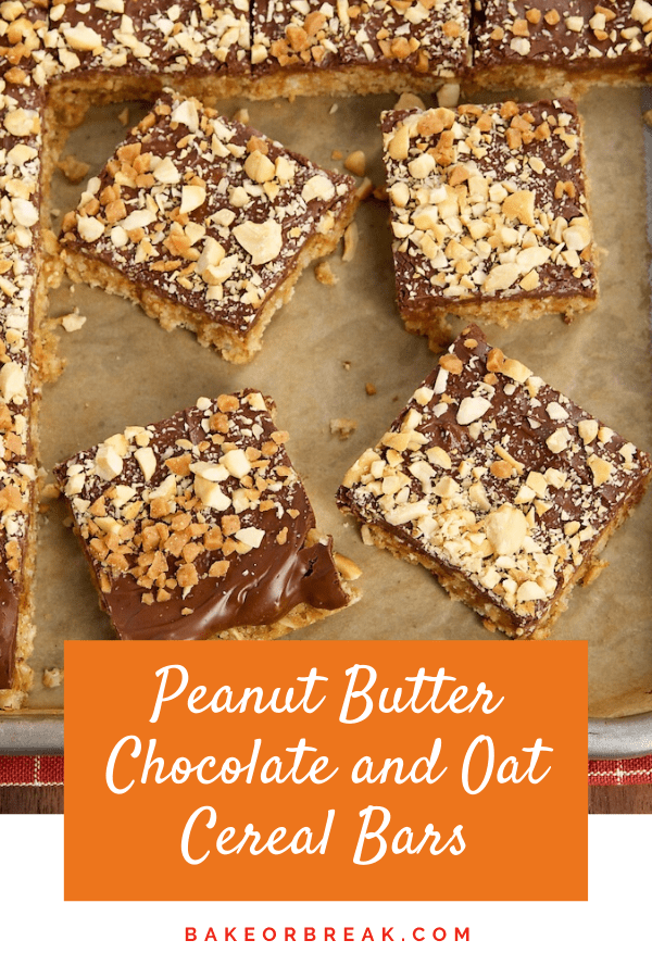 Peanut Butter-Chocolate-Oatmeal Cereal Bars are a simple, tasty way to enjoy the flavors of chocolate and peanut butter. - Bake or Break #peanutbutter #chocolate