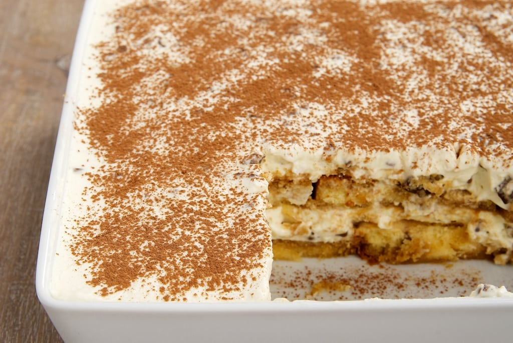 Chocolate Chip Tiramisu is so simple to make with pound cake and a sweet chocolate chip filling. Delicious! - Bake or Break