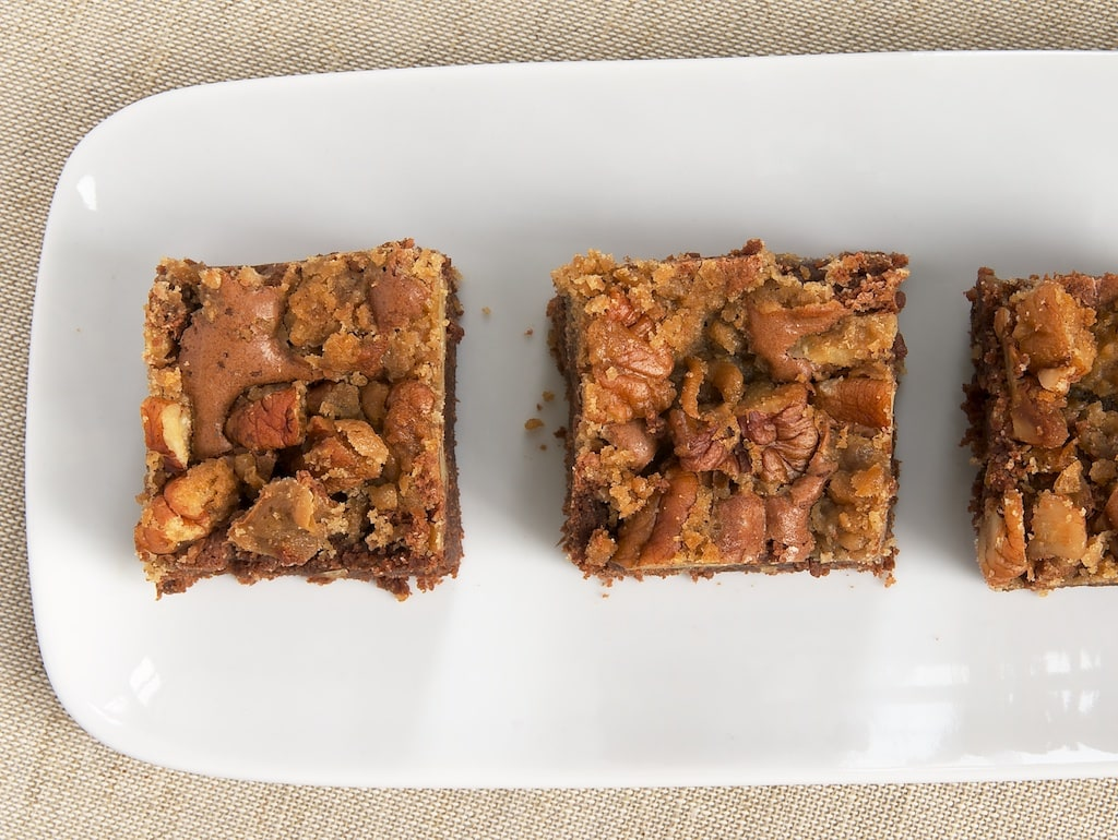 Praline Brownies combine rich brownies with a simple praline topping. Delicious! - Bake or Break