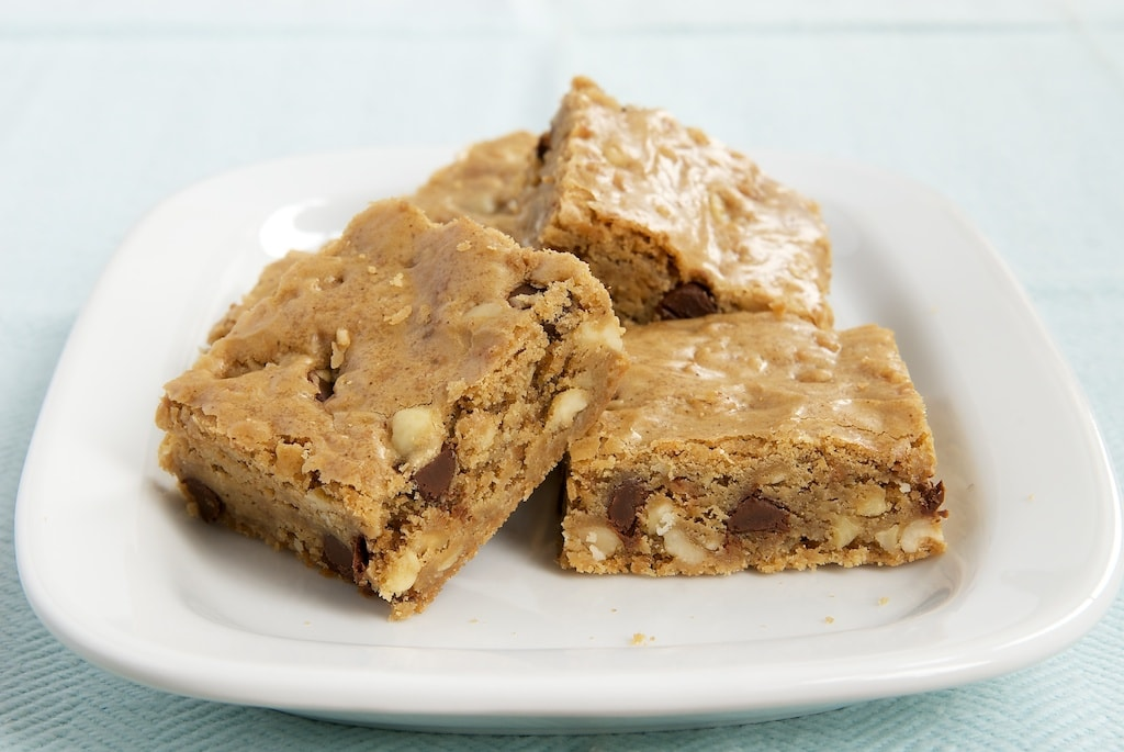 Hazelnut Chocolate Chip Brown Butter Blondies served on a plate
