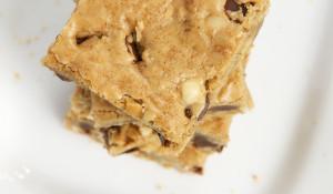 stack of Hazelnut Chocolate Chip Brown Butter Blondies