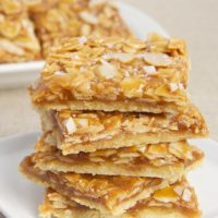 stack of Salted Caramel Almond Bars