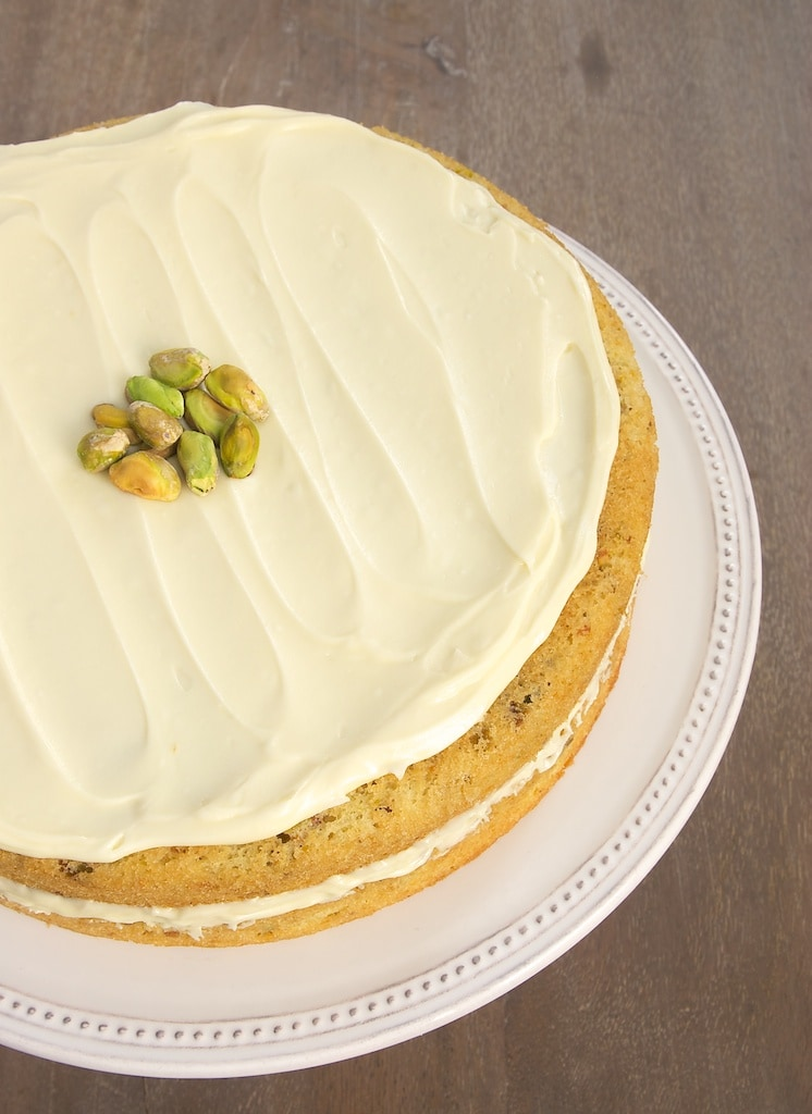 pistachio cake with white chocolate frosting bake or break