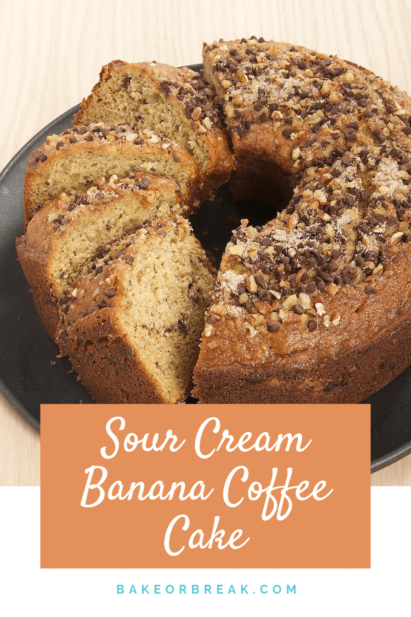Sour Cream Banana Coffee Cake is a lovely banana treat layered with chocolate chips and nuts. Great for brunch, coffee breaks, or just because! - Bake or Break #cake #coffeecake #bananas