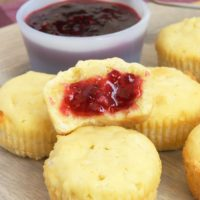 Mini Coconut Pound Cakes served with raspberry preserves