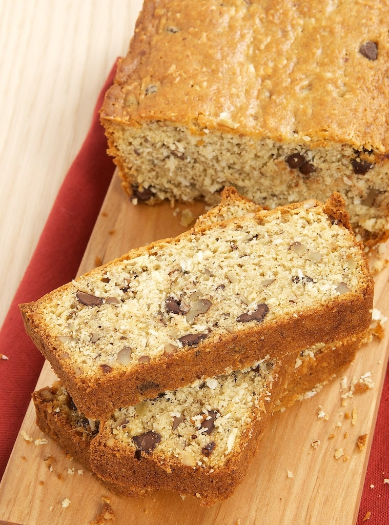 Chocolate, Coconut, and Pecan Bread combines some favorite flavors into a quick bread that's great for breakfast, a coffee break, or just a snack.