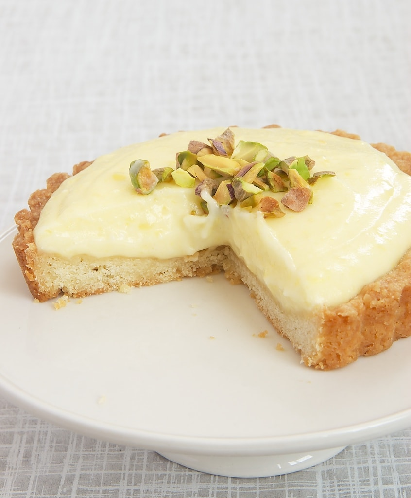 Lemon Cream Tart with a slice missing