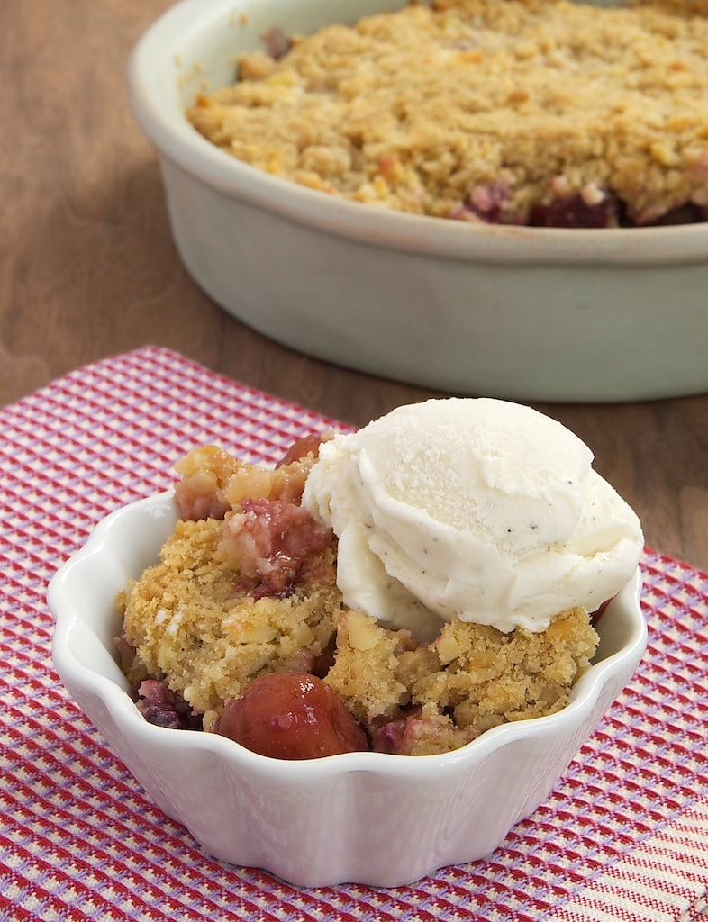Cherry Almond Crumble topped with ice cream