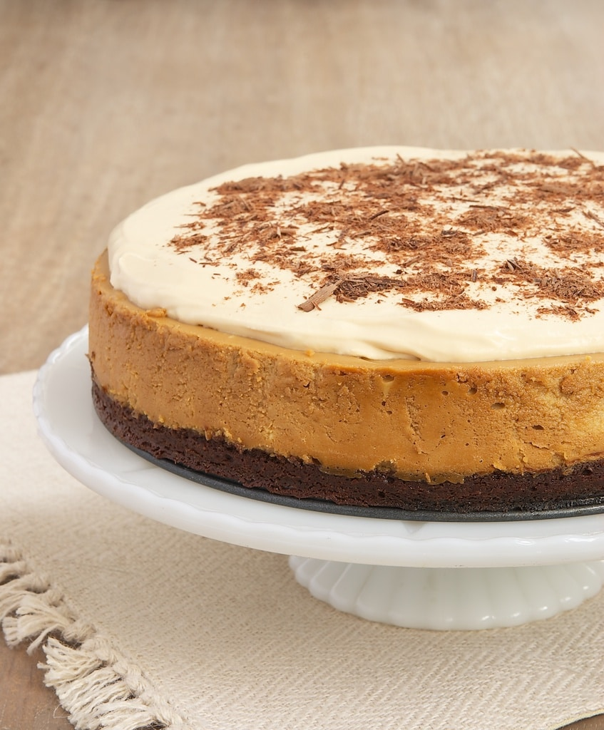 Dulce de Leche Cheesecake with Brownie Crust is an amazingly delicious combination of rich dulce de leche and dark chocolate brownie. - Bake or Break