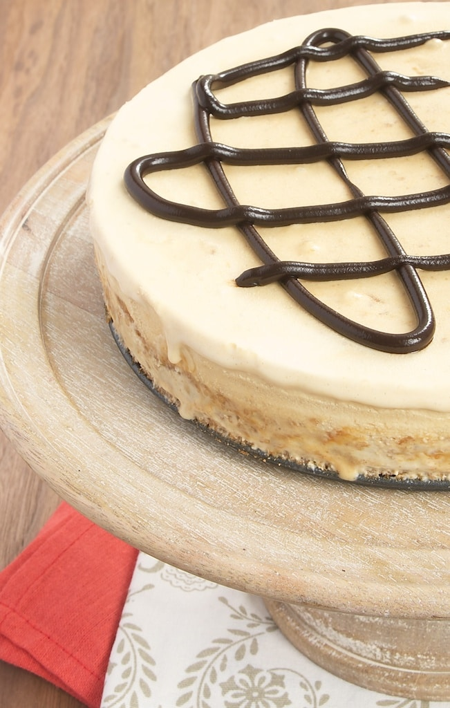 Salted caramel and peanut butter ice cream sit atop a sweet, chewy oatmeal cookie crust. A perfect summertime treat!