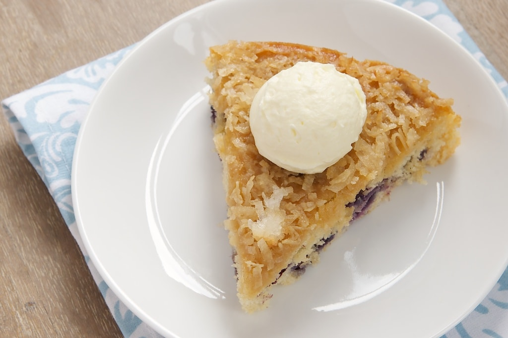 Blueberry Cake with Toasted Coconut Topping combines fresh berries, a simple cake, and a sweet coconut topping. - Bake or Break