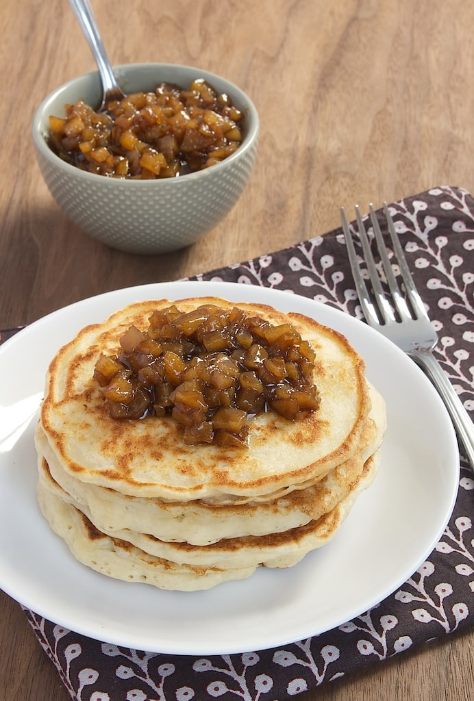 Dress up your next batch of pancakes with ricotta, cinnamon, and pears!