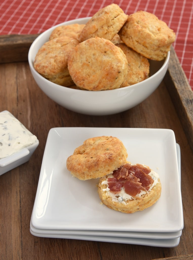 Savory spices and a little kick of hot sauce make Savory Cream Cheese Biscuits a perfect snack or meal complement. - Bake or Break