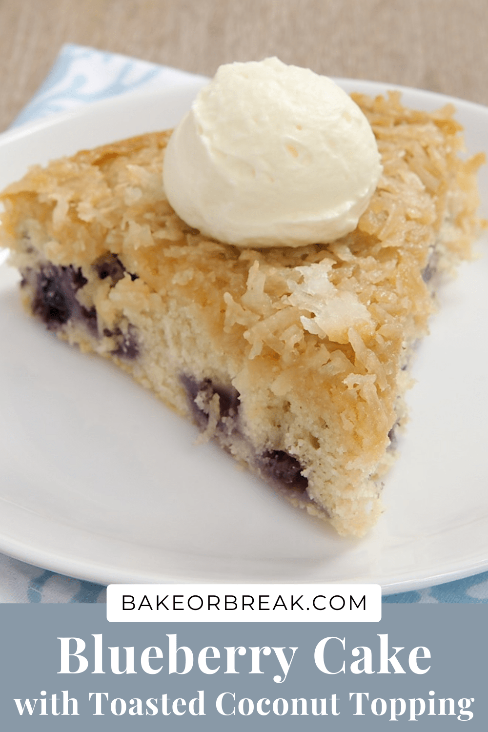 Blueberry Cake with Toasted Coconut Topping bakeorbreak.com
