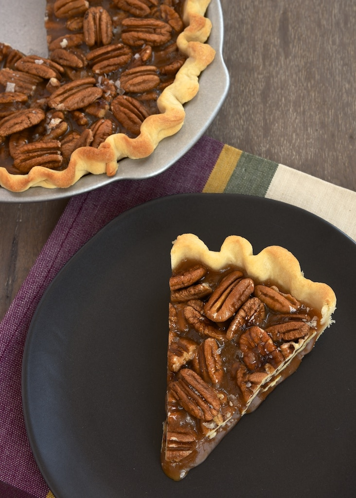 Salted Caramel Pecan Pie combines crunchy pecans and rich, salty caramel for an unforgettable pie experience! - Bake or Break
