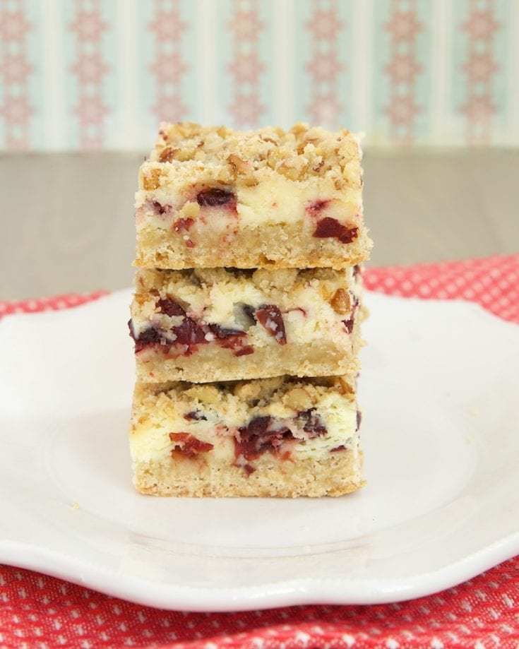 stack of Cranberry Crumble Cheesecake Bars