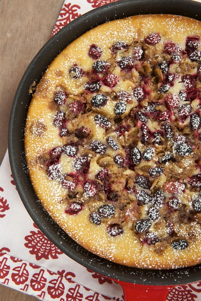Skillet Cranberry Buckle is a beautiful and delicious cake that's perfect for anything from breakfast to dessert.