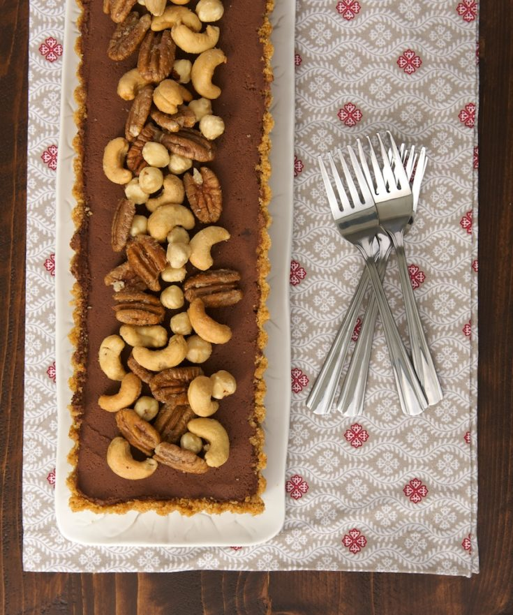 Chocolate Mousse Tart with Glazed Nuts is a simple, elegant, and delicious dessert for all of you chocolate fans!