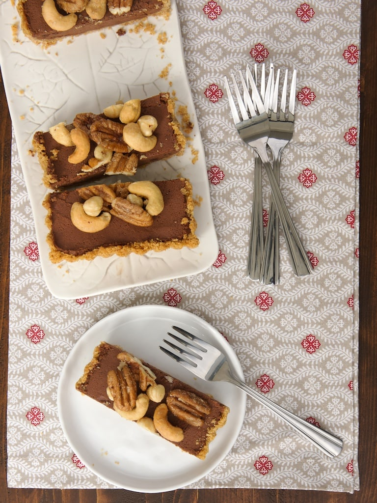Chocolate Mousse Tart with Glazed Nuts is a wonderfully delicious, cool, rich, chocolate-y dessert! - Bake or Break