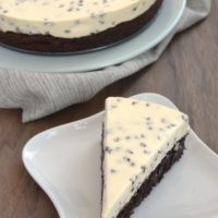 Chocolate Chip Cheesecake with Brownie Crust begins with a fudge brownie and then tops off with a simple, delicious no-bake cheesecake with lots of chocolate chips.