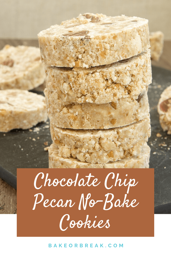 You only need 4 ingredients to make these irresistible Chocolate Chip Pecan No-Bake Cookies! They couldn't be simpler to make or more delicious to eat!- Bake or Break #cookies #nobake