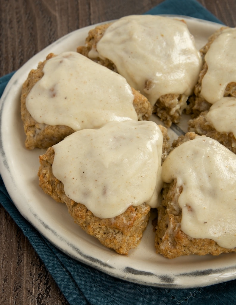 Spiced Oat Scones with Brown Butter Glaze are a perfect choice for a special morning treat! | Bake or Break