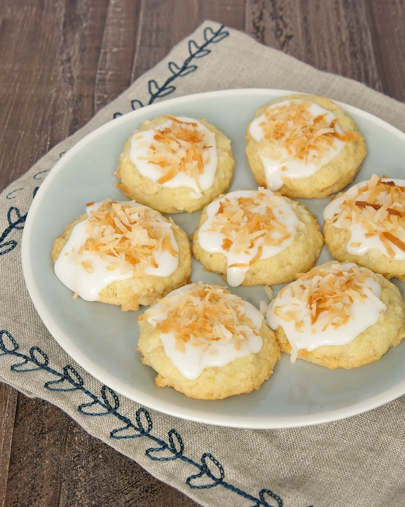 White chocolate chunks and toasted coconut dress up traditional sugar cookies.