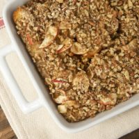 overhead view of Apple Cinnamon Baked French Toast in a white baking pan