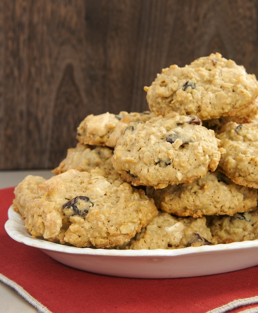 Sweet white chocolate, tart dried cherries, and chewy oats make these Cherry-White Chocolate Oatmeal Cookies irresistible!