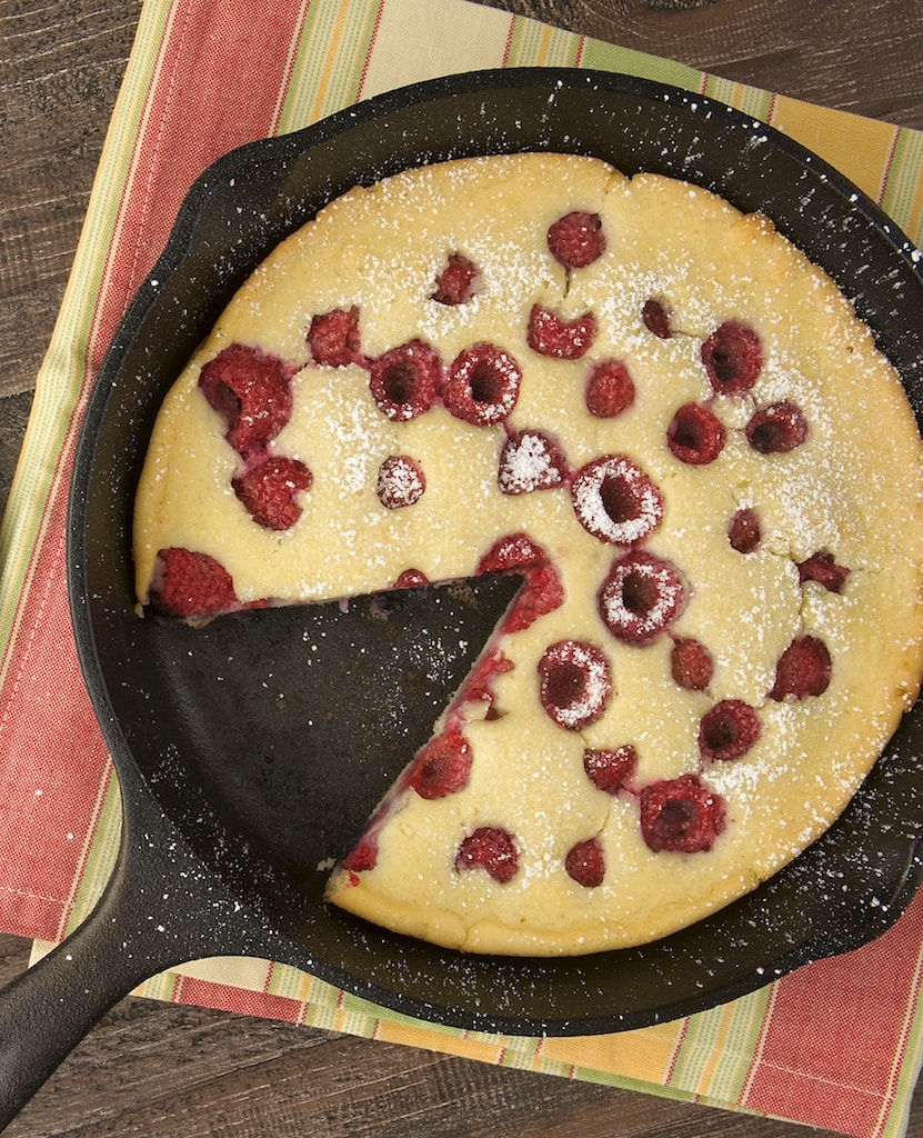 You can have this Raspberry Skillet Pancake mixed up so quickly. My favorite quick-and-easy pancake! - Bake or Break