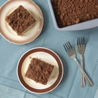 Two of my favorite flavors combine in this Peanut Butter Coffee Cake with Chocolate Crumb Topping. Perfect for an afternoon treat!