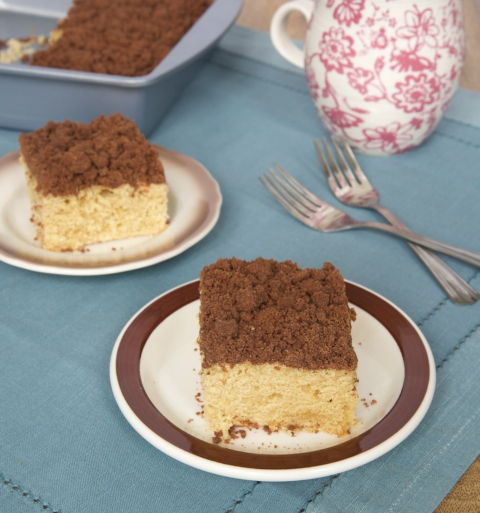 Subtly sweet peanut butter cake is topped with a delicious chocolate crumb topping for a cake you'll crave morning, noon, and night! - Bake or Break