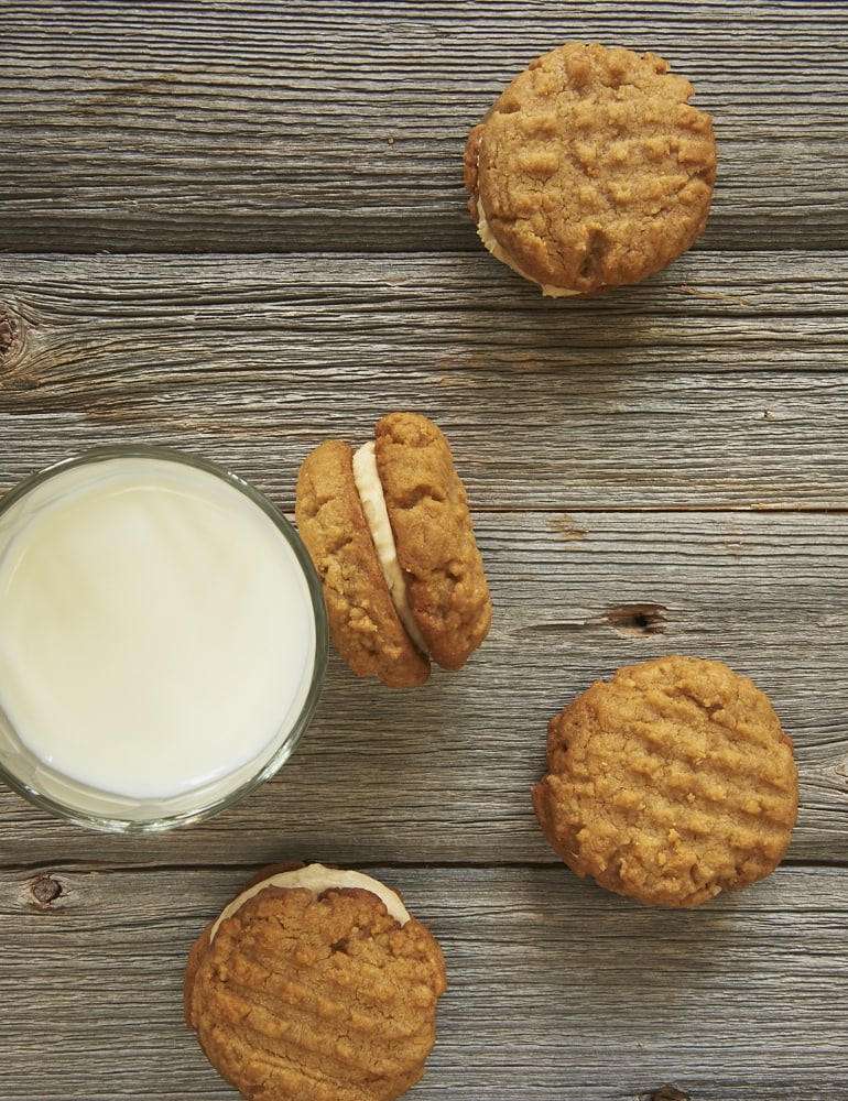 Peanut Butter Sandwich Cookies and a glass of milk