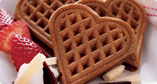 Krusteaz Chocolate Valentine Waffles