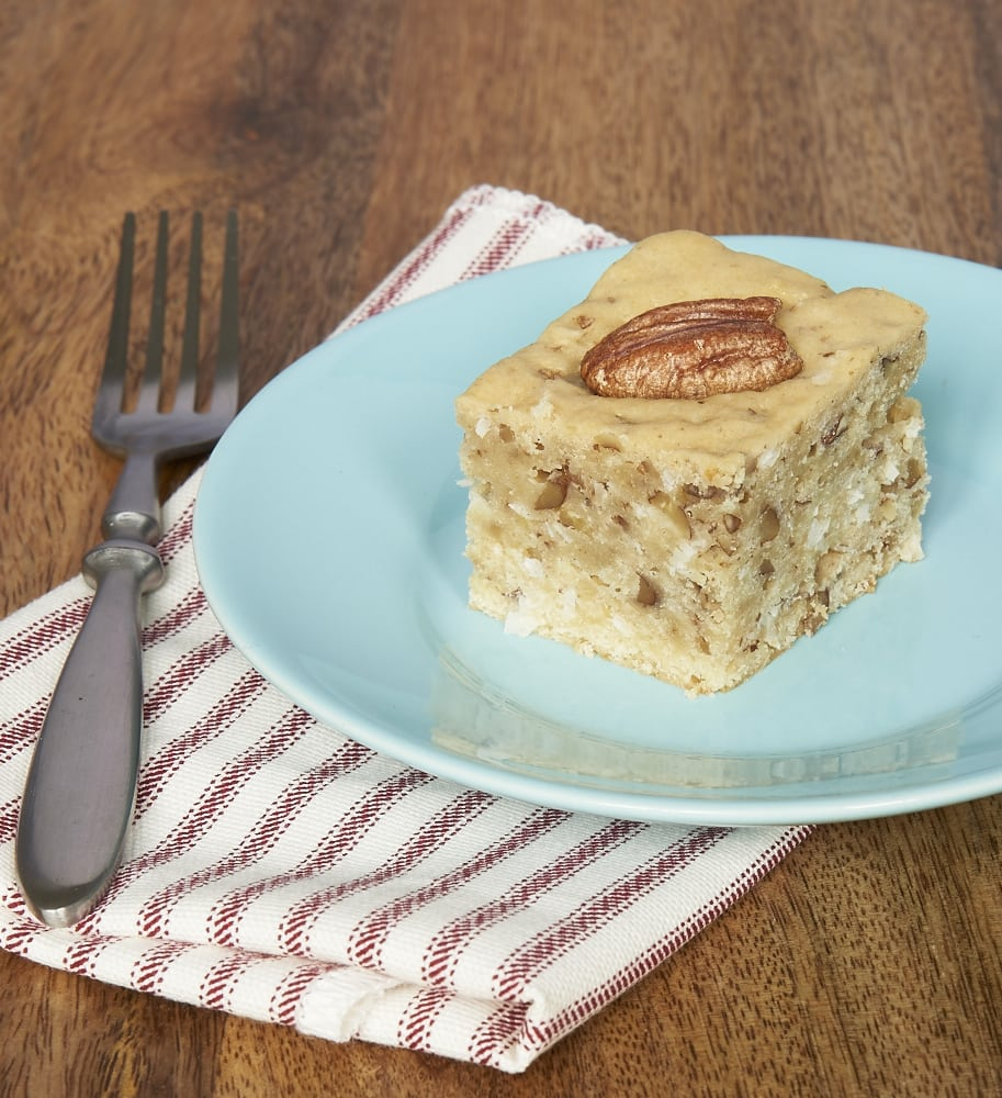 Coconut, pecans, and cream cheese make this Italian Cream Snack Cake absolutely delicious! - Bake or Break