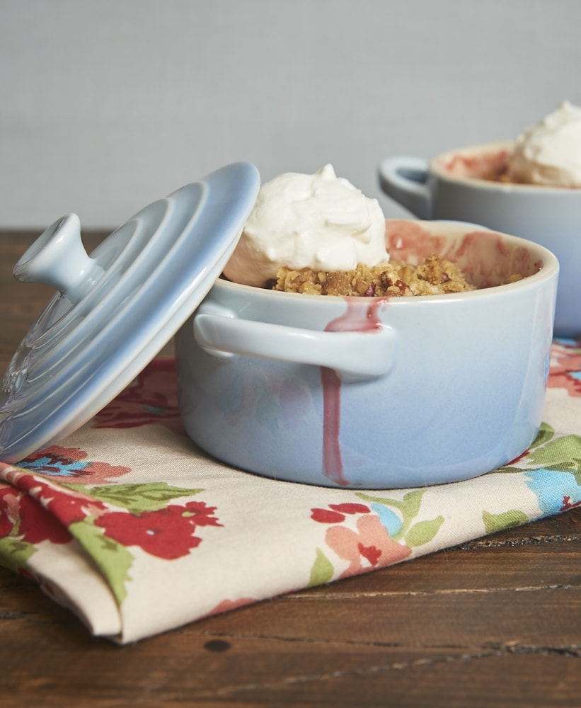 Strawberry Pecan Crumble topped with sweetened whipped cream
