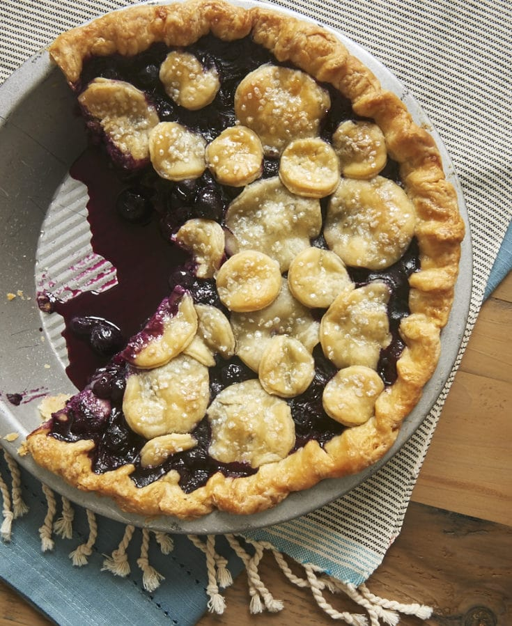 overhead view of Blueberry Ginger Pie in a metal pie plate