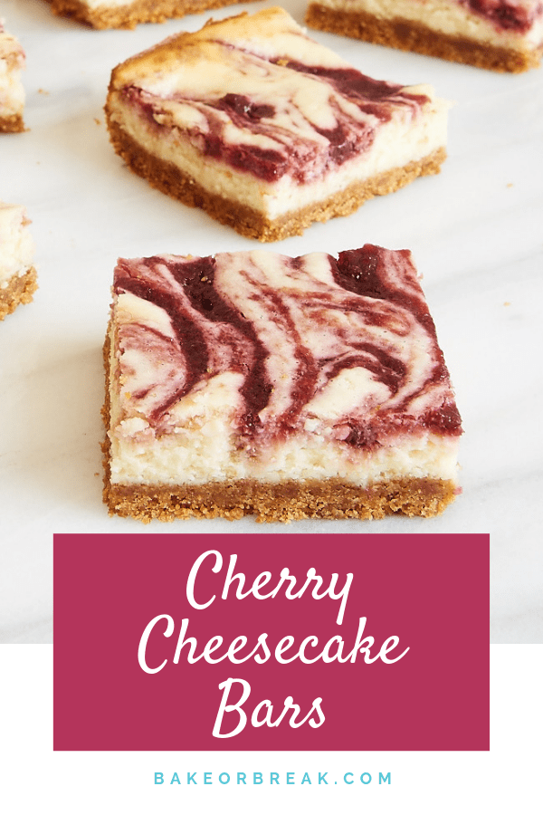 Rich cheesecake gets swirled with sweet cherries in these Cherry Cheesecake Bars. A delightful way to enjoy a classic flavor combination! - Bake or Break #cheesecake #cherry #cheesecakebars