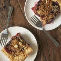 two slices of Cherry Plum Slab Pie