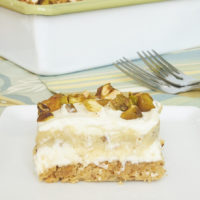Pistachio Pudding Bars combine a nutty crust, sweetened cream cheese, pistachio pudding, and sweetened whipped cream for an unforgettable, irresistible dessert. All from scratch! - Bake or Break