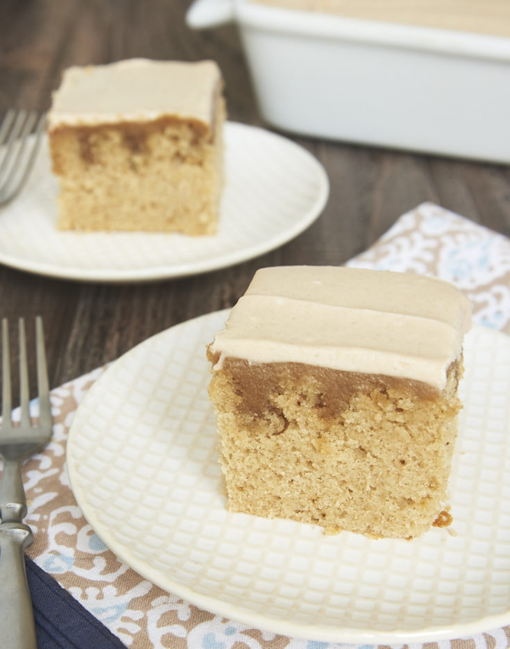A delicious blend of spices and a simple homemade butterscotch sauce combine to make this irresistible Butterscotch Spice Poke Cake! - Bake or Break.