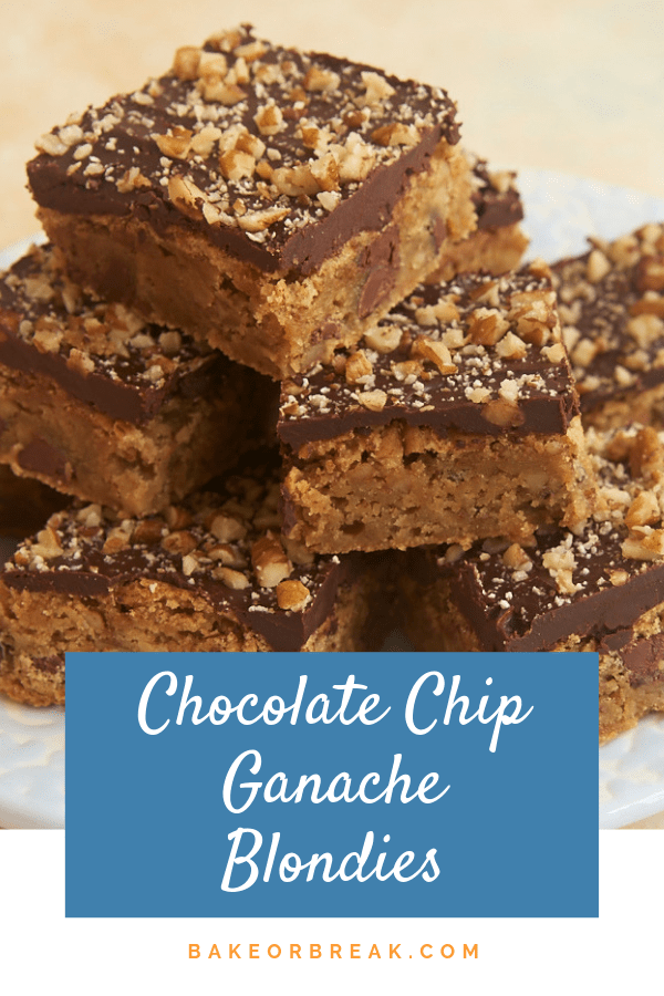 Simple blondies get all dressed up with a rich ganache topping in these Chocolate Chip Ganache Blondies! - Bake or Break #blondies #chocolatechip #ganache